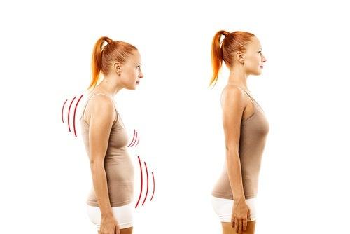 postura corporal vientre abultado